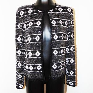 Vtg 80s Beaded Design Cardigan top by Papell